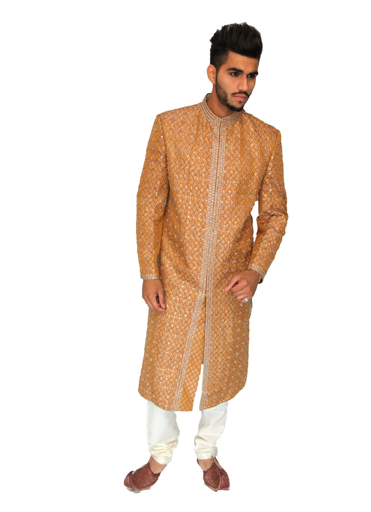 Orange Silk Embroidered Sherwani