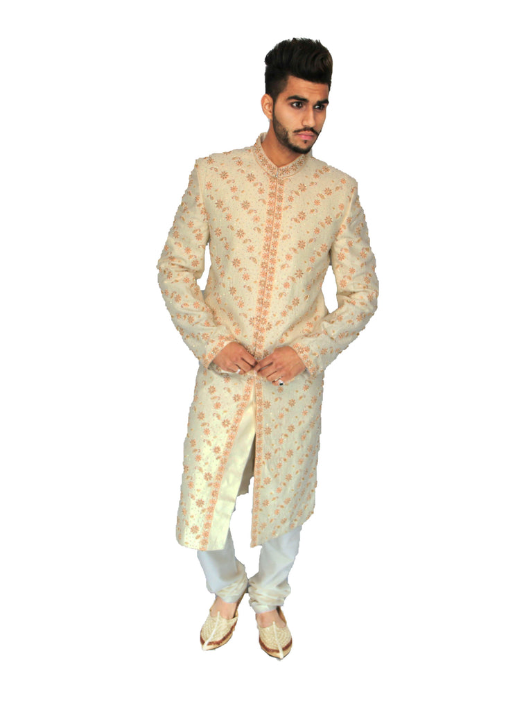 Off White Embroidered Indian Sherwani