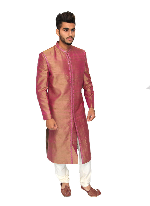 Opulent Doubletone Indian sherwani in Raw Silk
