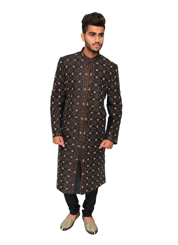 Black Silk Bandhgala Sherwani with front Embroidery