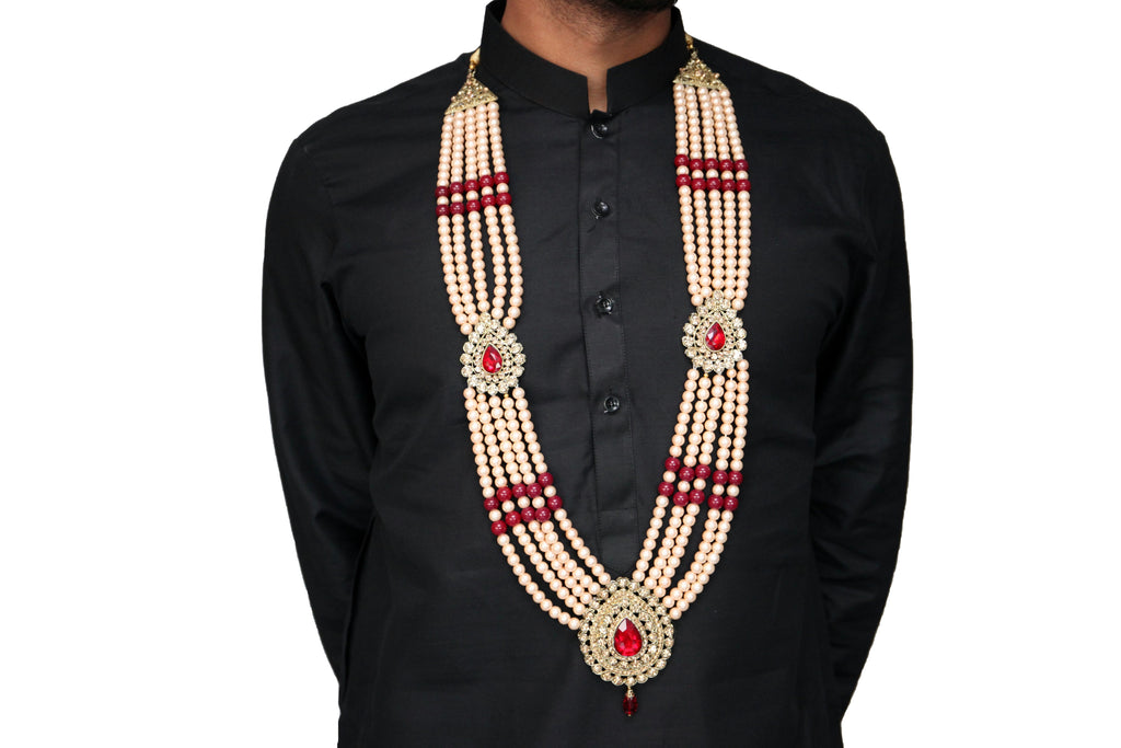 Gold Pearl Haar with Ruby and Gold Gemstones Necklace Mala