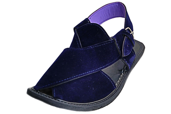 Navy Blue Suede Hand Crafted Peshawari Sandal
