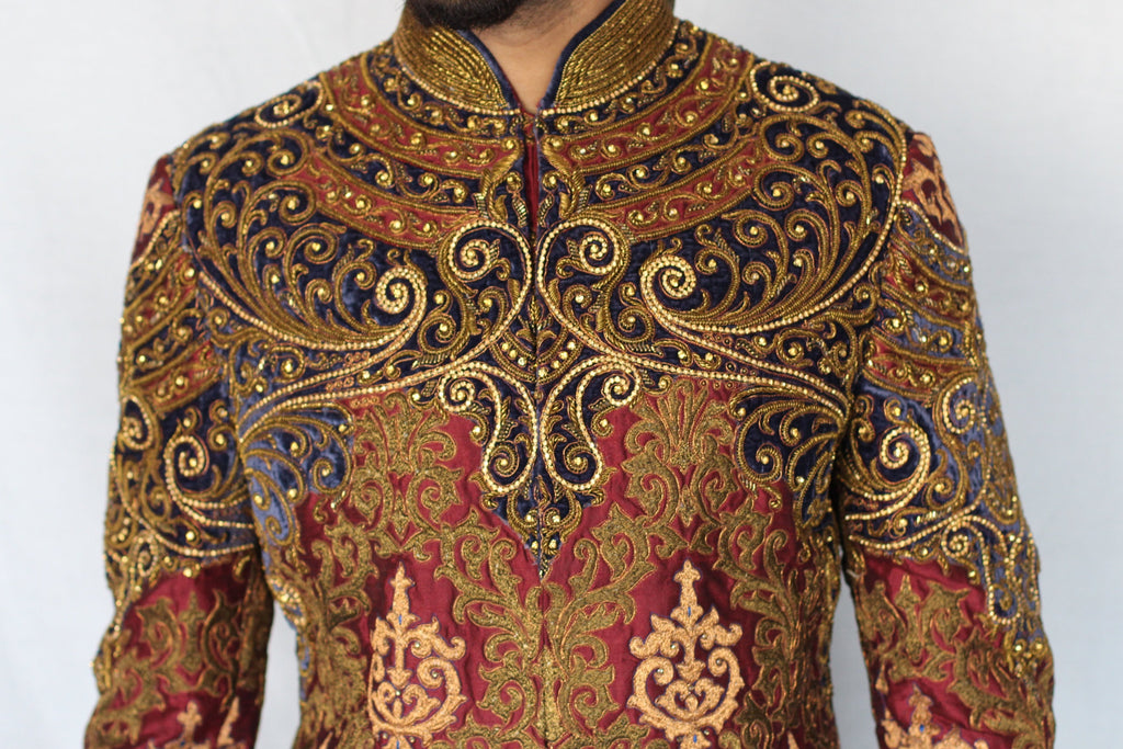 Maroon and Royal Blue Sherwani with Antique Gold Embroidery