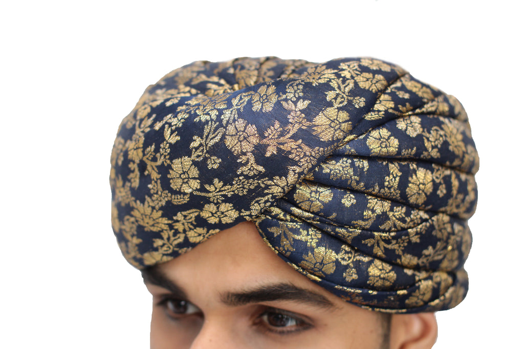 Blue and Gold Brocade Turban Hat with Trail