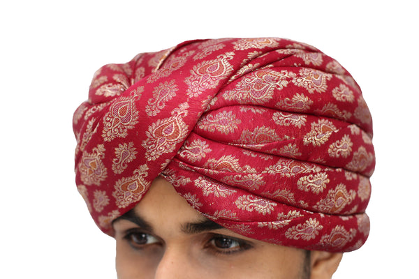 Red and Gold Brocade Turban Hat with Trail