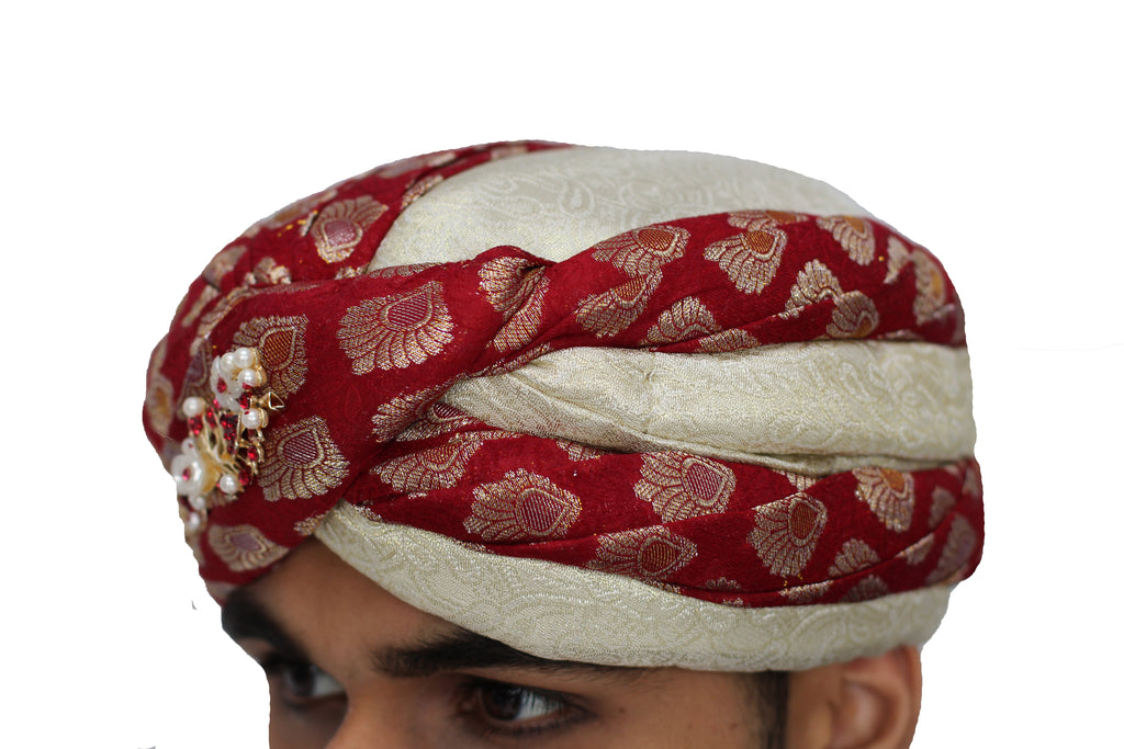 Red Brocade and Ivory Turban Hat with Vine Broach