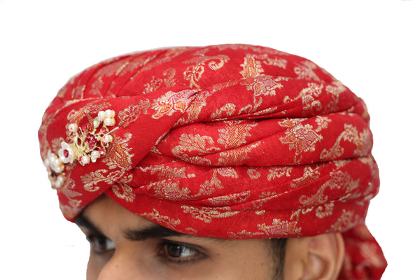 Red and Gold Brocade Turban Hat with Vine Broach