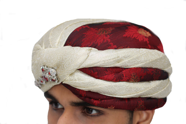Maroon and Off-White Turban Safa Hat