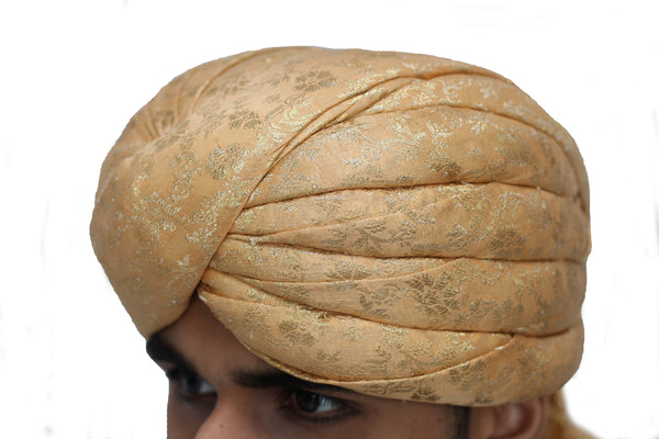 Gold Brocade Turban Hat with Shawl Trail