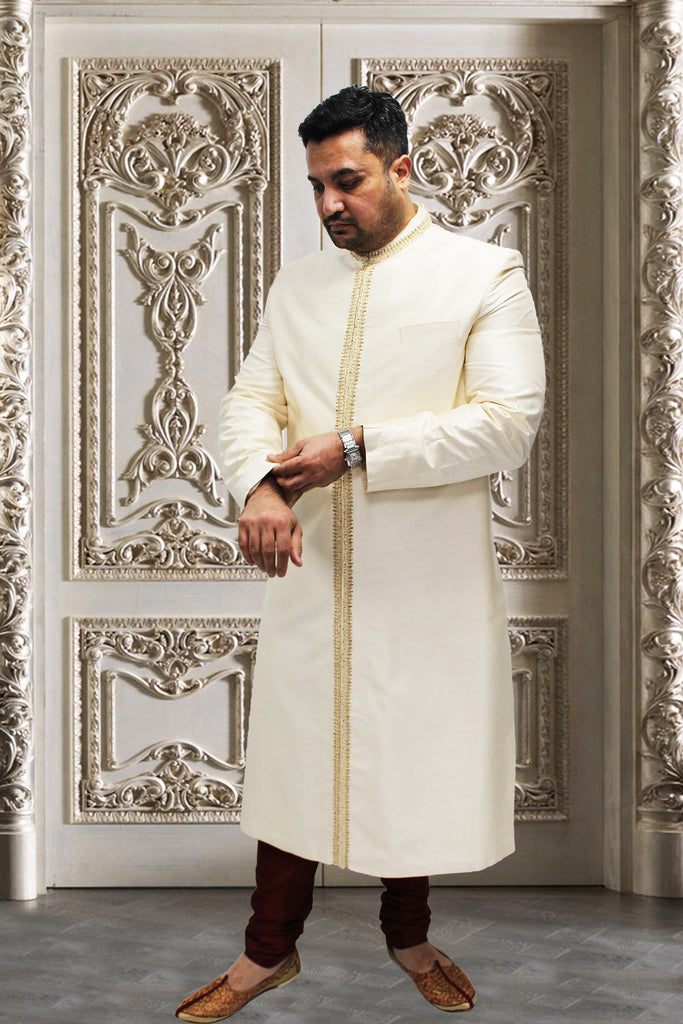 Off-white Raw Silk Indian Sherwani with Gold Work for Men