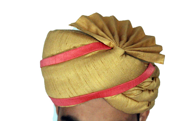 Gold and Peach Safa Turban Hat with Fan