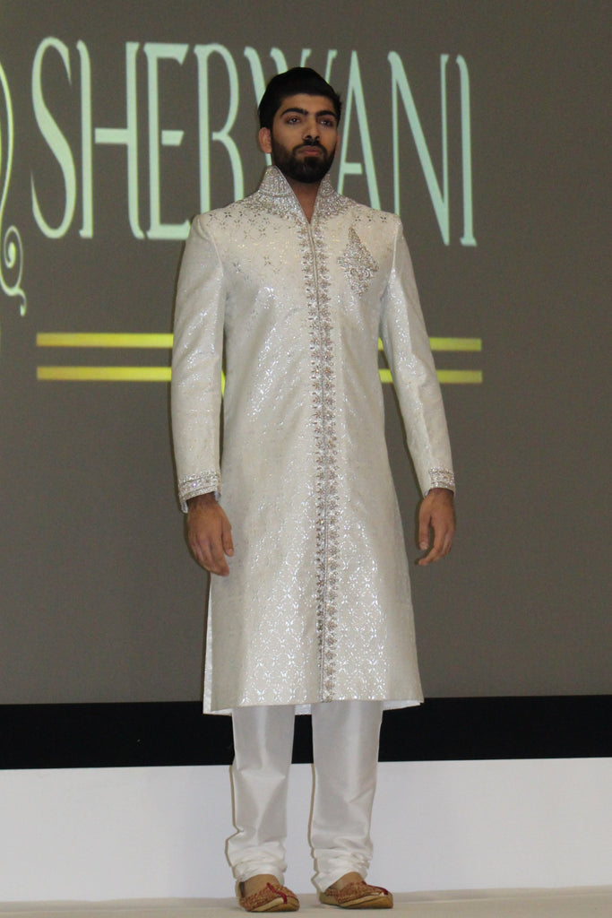 Ivory Sherwani with Swarovski and Red Detail