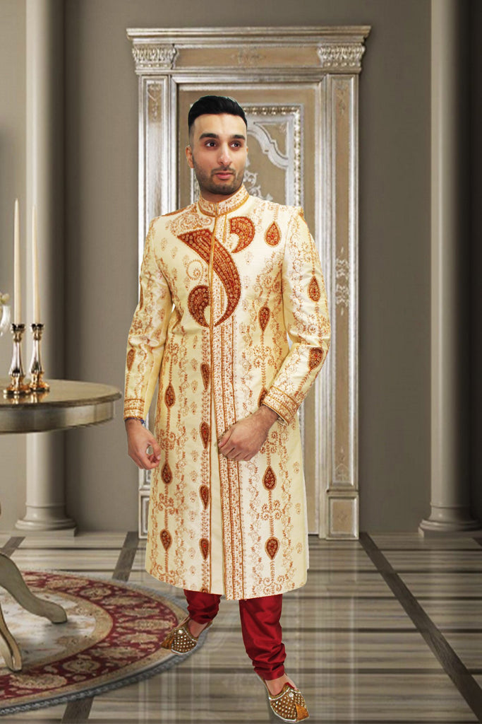 Cream Sherwani with Red Embroidery