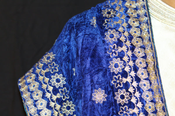 Royal Blue Velvet Shawl with Gold Embroidered pattern