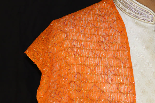 Orange Pattern Indian Mens Stole Scarf Shawl