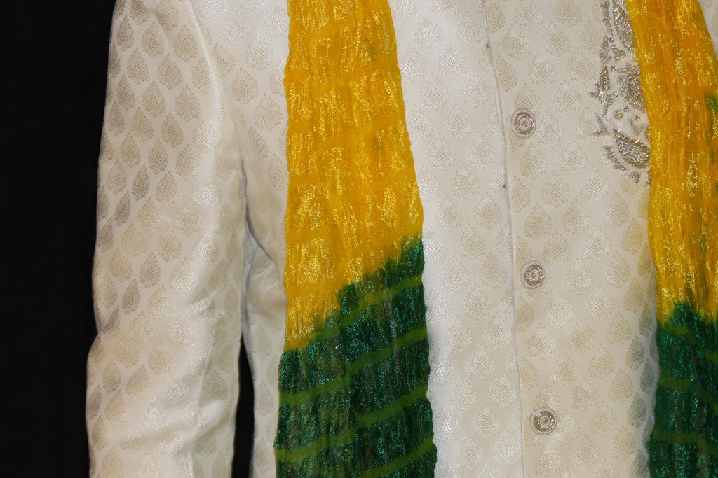 Yellow Mehndi Indian Mens Stole Scarf Shawl Small