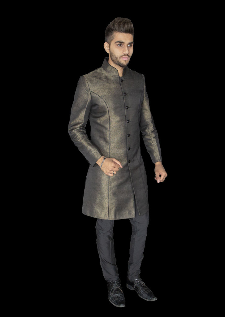 Authentic Gold and Black Fusion Sherwani