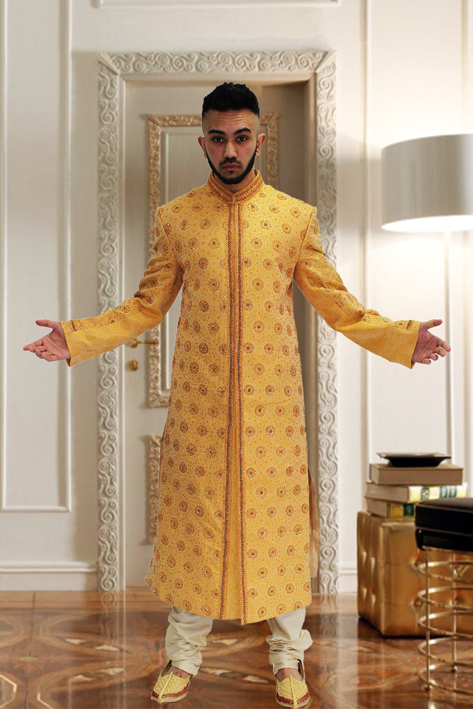 Gold & Orange Indian Sherwani with Matching Embroidery