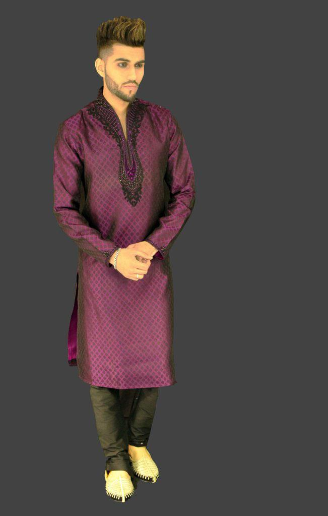 Purple Brocade Kurta Sherwani with Chest and Collar embellishments