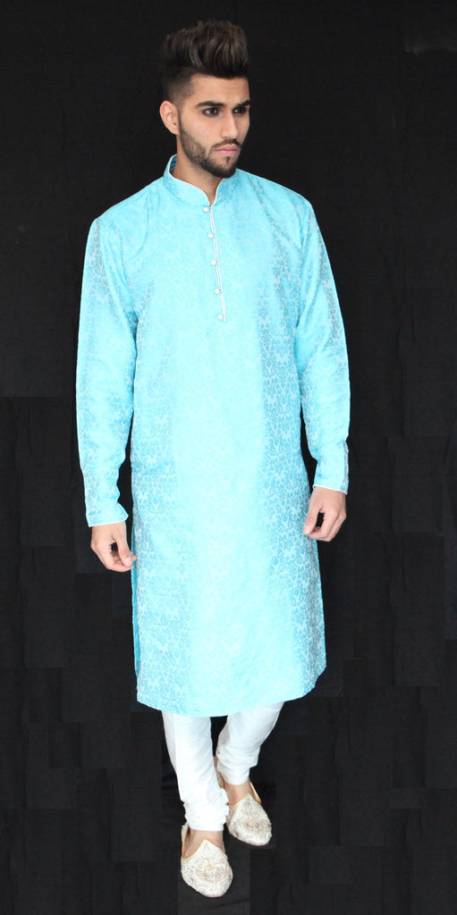 Sky Blue Brocade Kurta Sherwani with Gemstone button detail