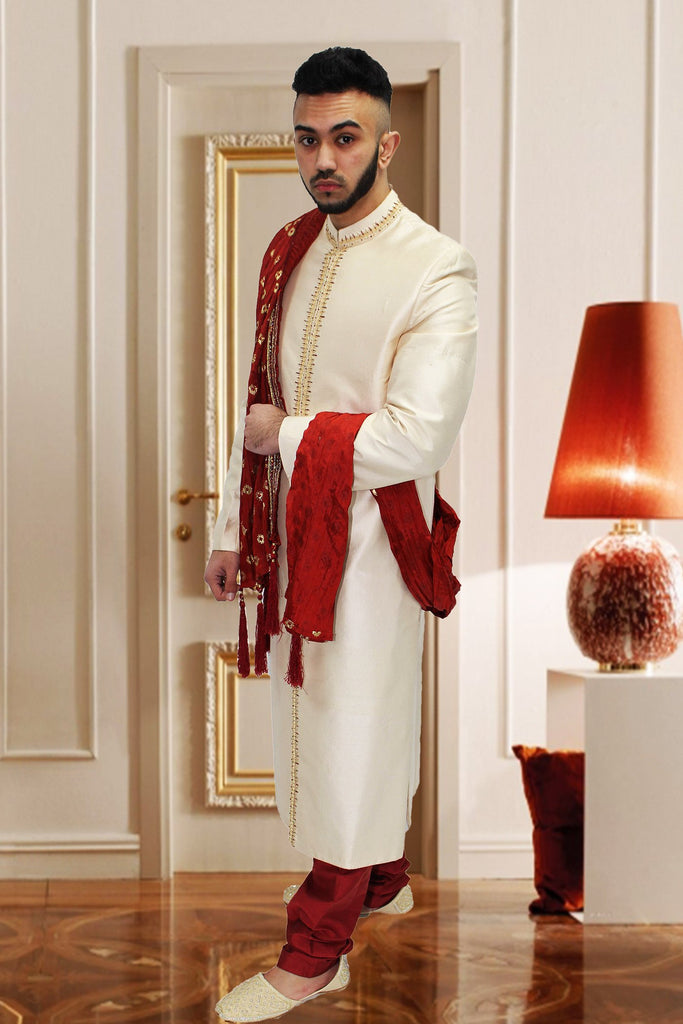 Off White Indian Sherwani with Center Embroidery