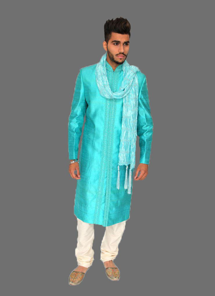 Azure Sherwani with Center Embroidery Indian style
