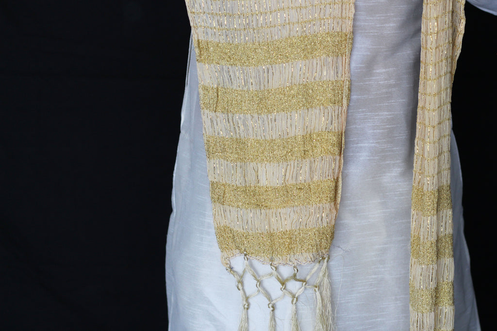 Gold and Ivory Indian Mens Stole Scarf Shawl