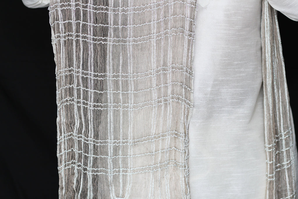 Shimmery Light Grey Scarf with Silver Thread Detail
