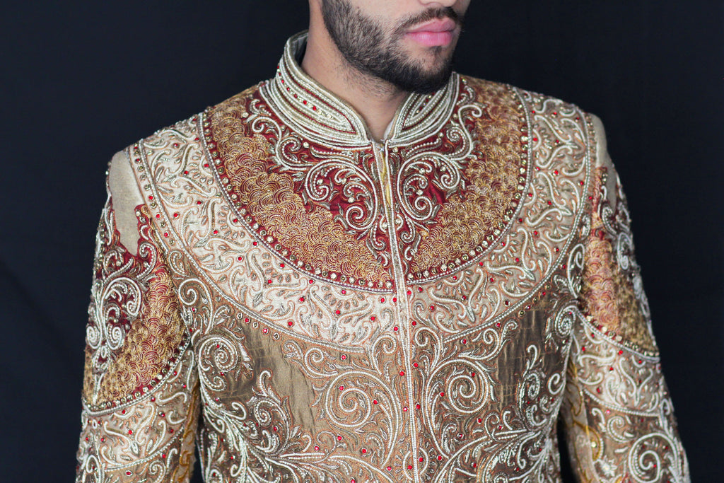 Regal Antique Gold Sherwani with Red, Gold and Ivory Embroidered Detail