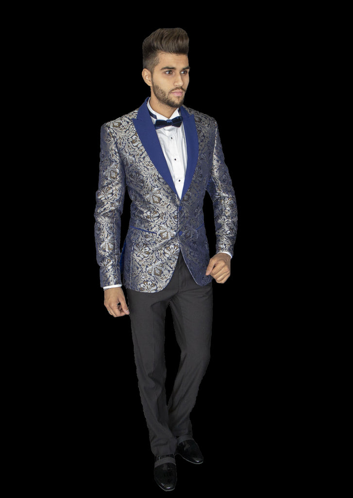 Silver and Blue Blazer with Blue Lapel, button and pocket detail