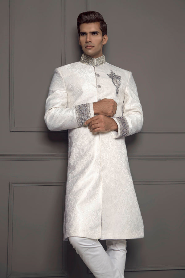 White Sherwani Jacket with Embroidered Collar and Cuffs