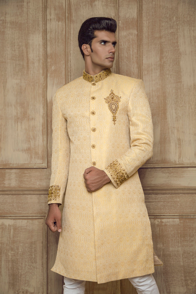 Gold Occassionwear Sherwani with Embroidered Details
