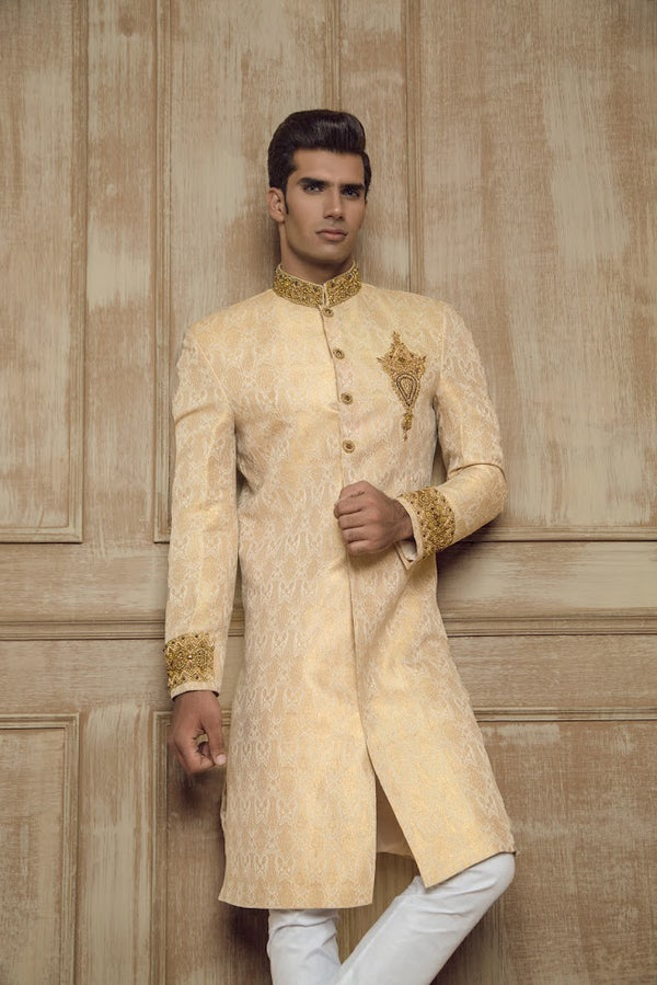Gold Modern Sherwani Jacket with Light Embroidery