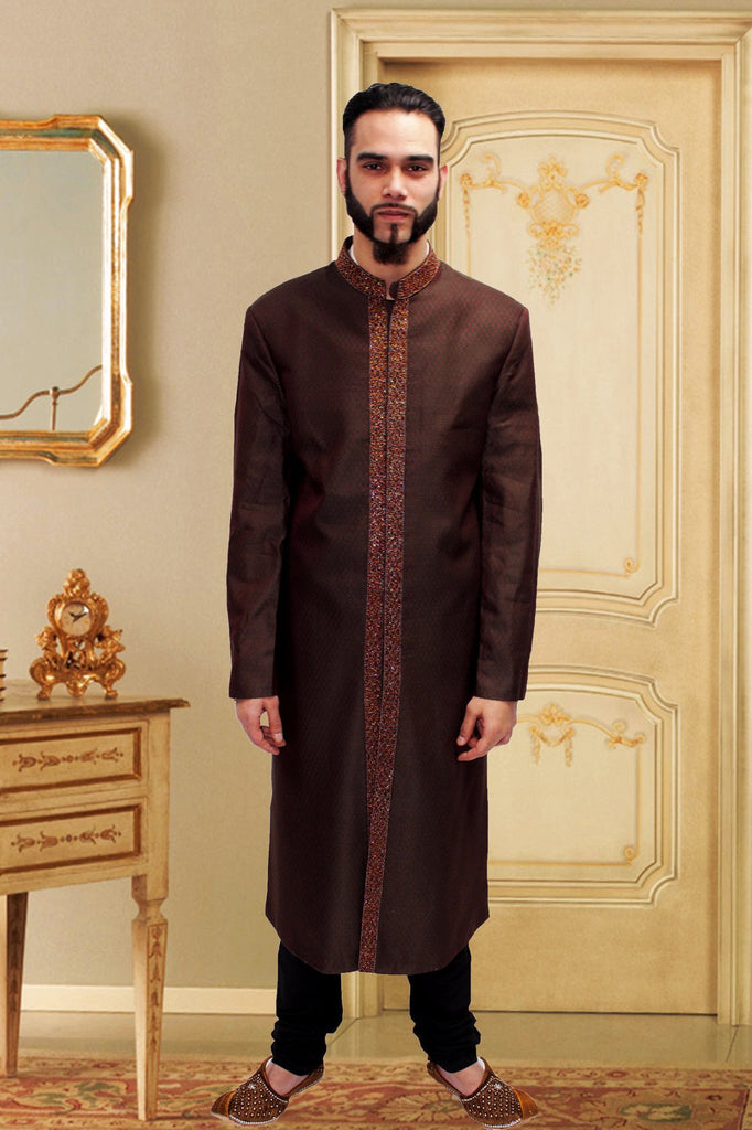 Dark Maroon Brocade Indian Sherwani with center Embroidery