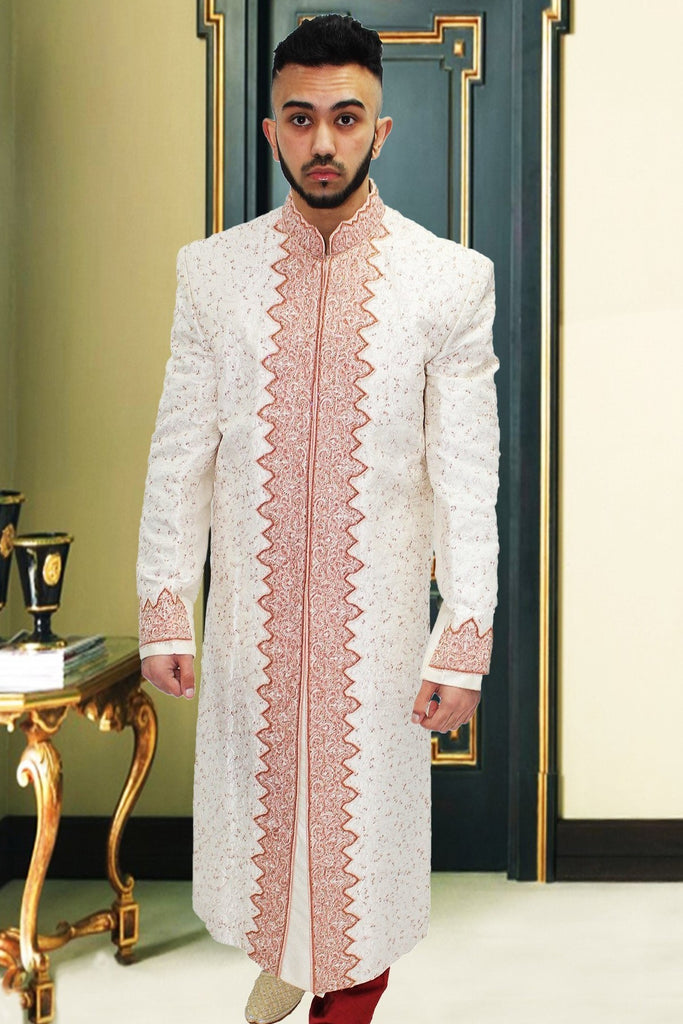 White Indian Sherwani with Rose Cut-pipe Embroidery