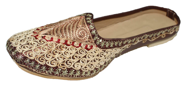 Jenapur - Gold & Brown with Red Mojri