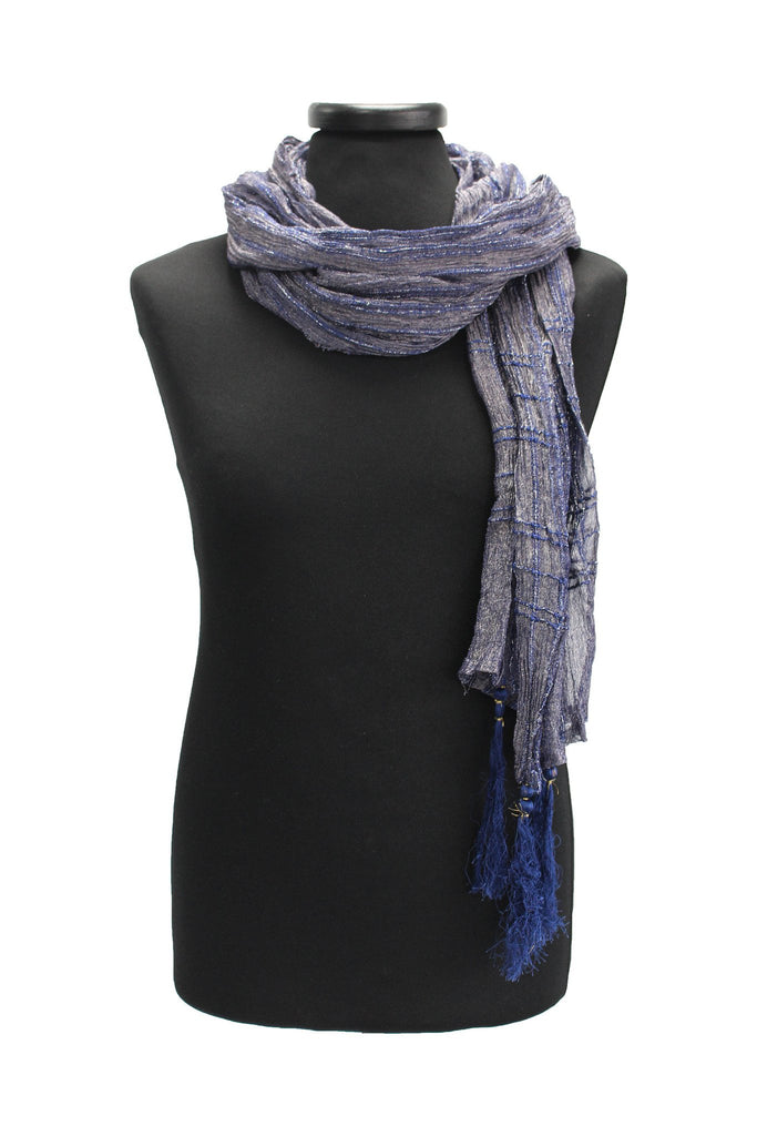 Dark Blue Scarf with Silver Threadwork Details