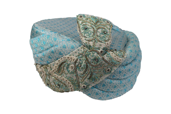 Karur - Aqua and White Kulla Hat