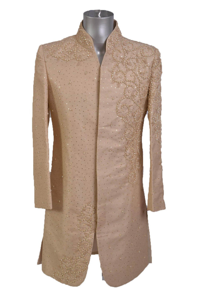 Champagne Gold Sherwani with Full Pearl Detail