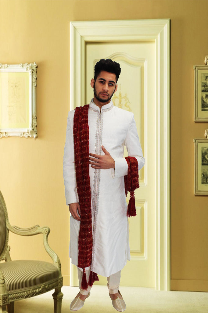 White Silk Indian Sherwani With Central Strip Embroidery