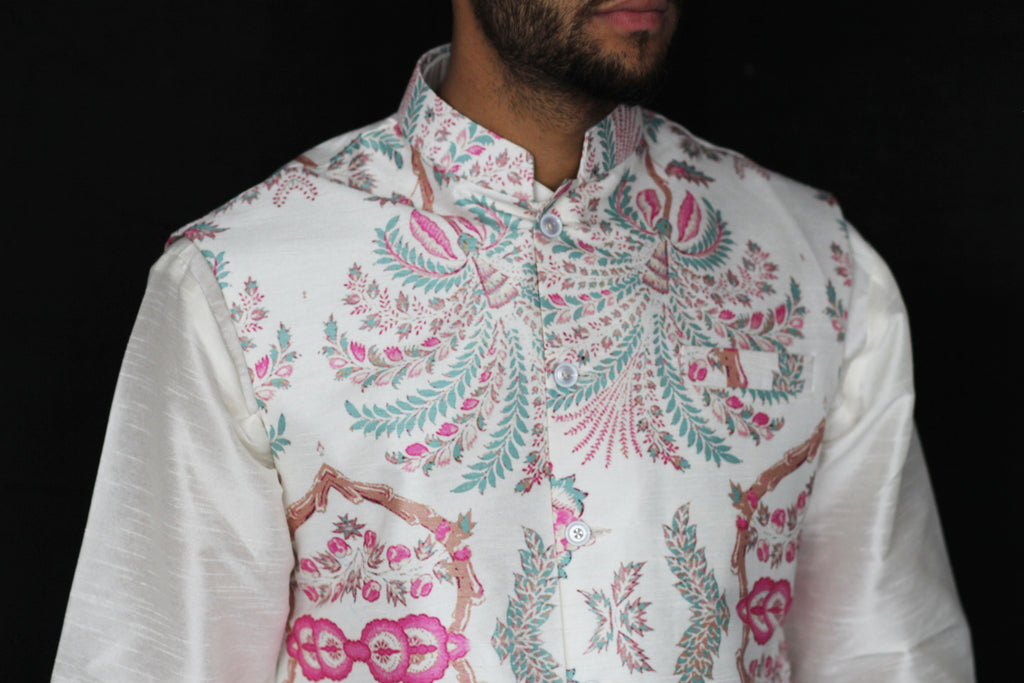 Ivory Waistcoat with Pink and Teal Pattern