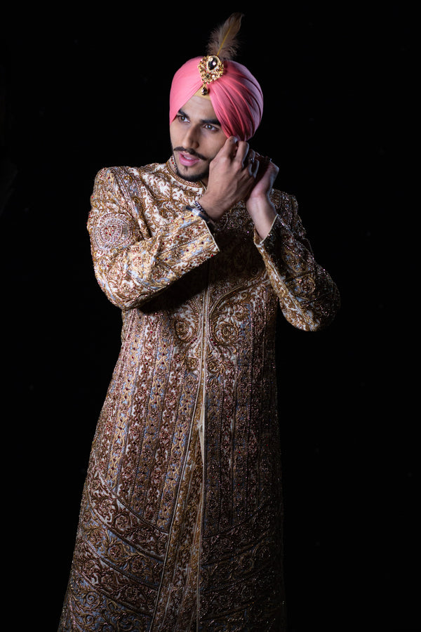 Ivory and Silver Sherwani with Red Gemstones