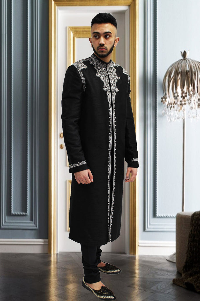 Black Silk Indian Sherwani with White Embroidery for Men