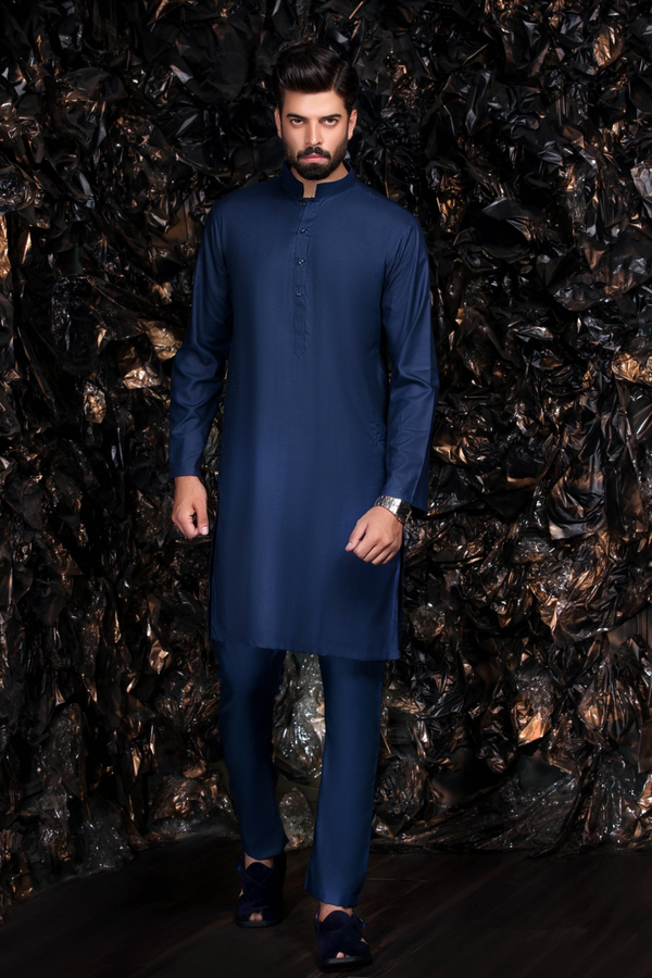 Blue Kurta with Trousers Bollywood Indian - Pakistani Suit