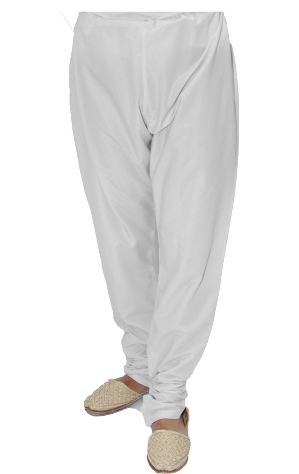 White Churidar Trousers Pyjama for Sherwani - Kurta