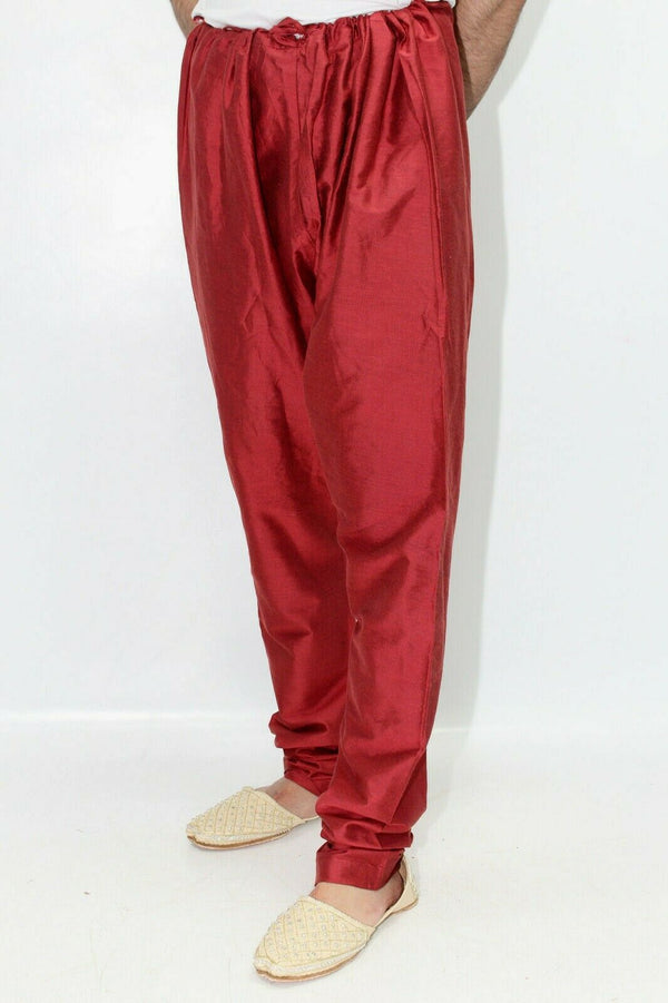 Red Churidar Trousers Pyjama for Sherwani - Kurta