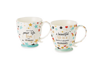 "2 x Becher ""Janine"" New Bone China mit Goldauflage, 0,35 l"