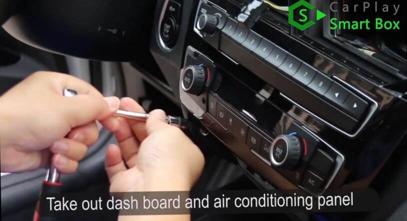 1. Take out dashboard and air conditioning panel - How to install WiFi Wireless Apple CarPlay on BMW F30 NBT EVO Head Unit - CarPlay Smart Box