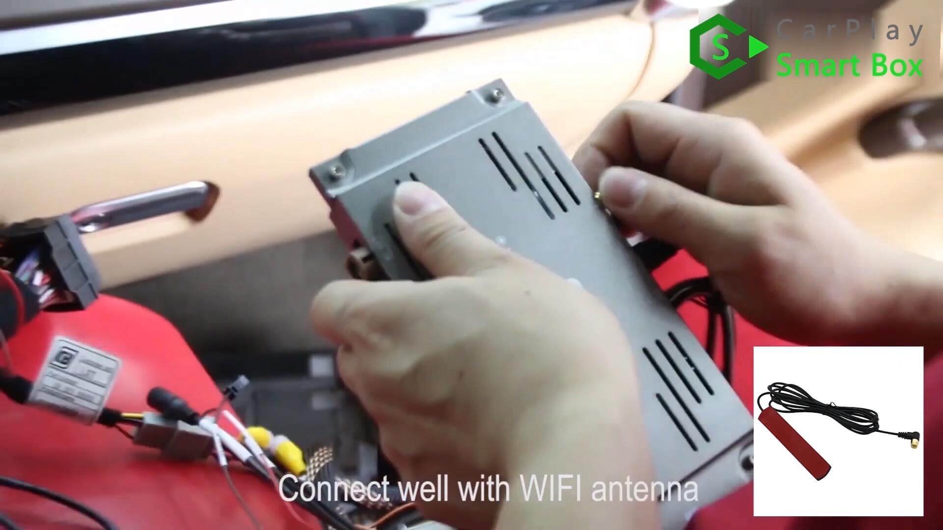 10. Connect well with WiFi antenna -  Step by Step Retrofit Porsche Cayenne PCM3.1 WIFI Wireless Apple CarPlay - CarPlay Smart Box