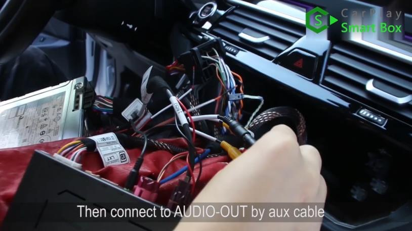 10. Then connect to AUDIO-OUT by AUX cable - Step by Step Retrofit JoyeAuto wireless CarPlay on BMW 528Li G38 EVO Head Unit - CarPlay Smart Box